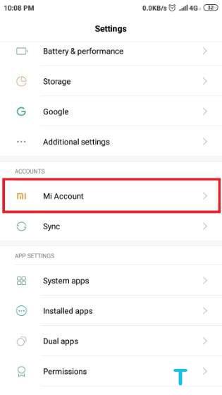 How to Delete a Mi Account 1