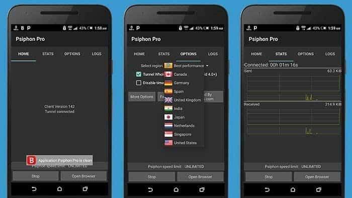 Latest Psiphon Pro v262 Mod Apk Features