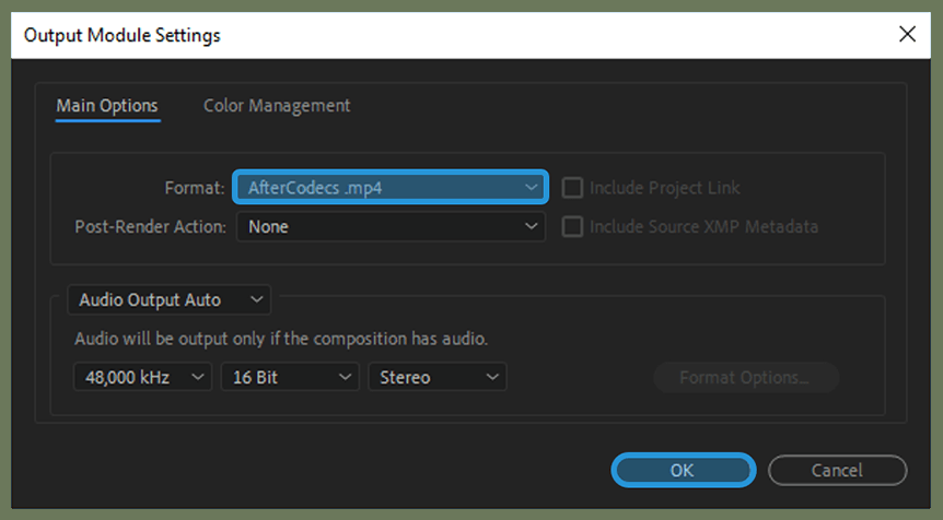 Configure Output Settings