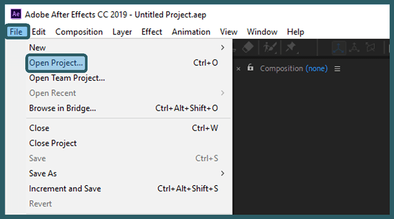 Open the Project in After Effect